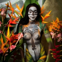 African Flowers Bodypainting