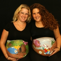 Pregnant Belly Painting Alice in Wonderland