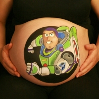 Pregnant Belly Painting Buzz Lightyear