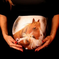 Pregnant Belly Painting Horses