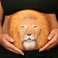 Pregnant Belly Painting Leo
