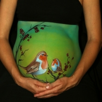 Pregnant Belly Painting Nightingales