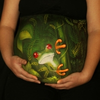 Pregnant Belly Painting Tree Frog