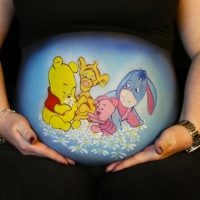 Pregnant Belly Painting Winnie Pooh and Friends