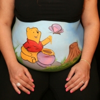 Pregnant Belly Painting Winnie the Pooh