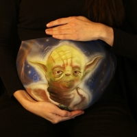 Pregnant Belly Painting Yoda