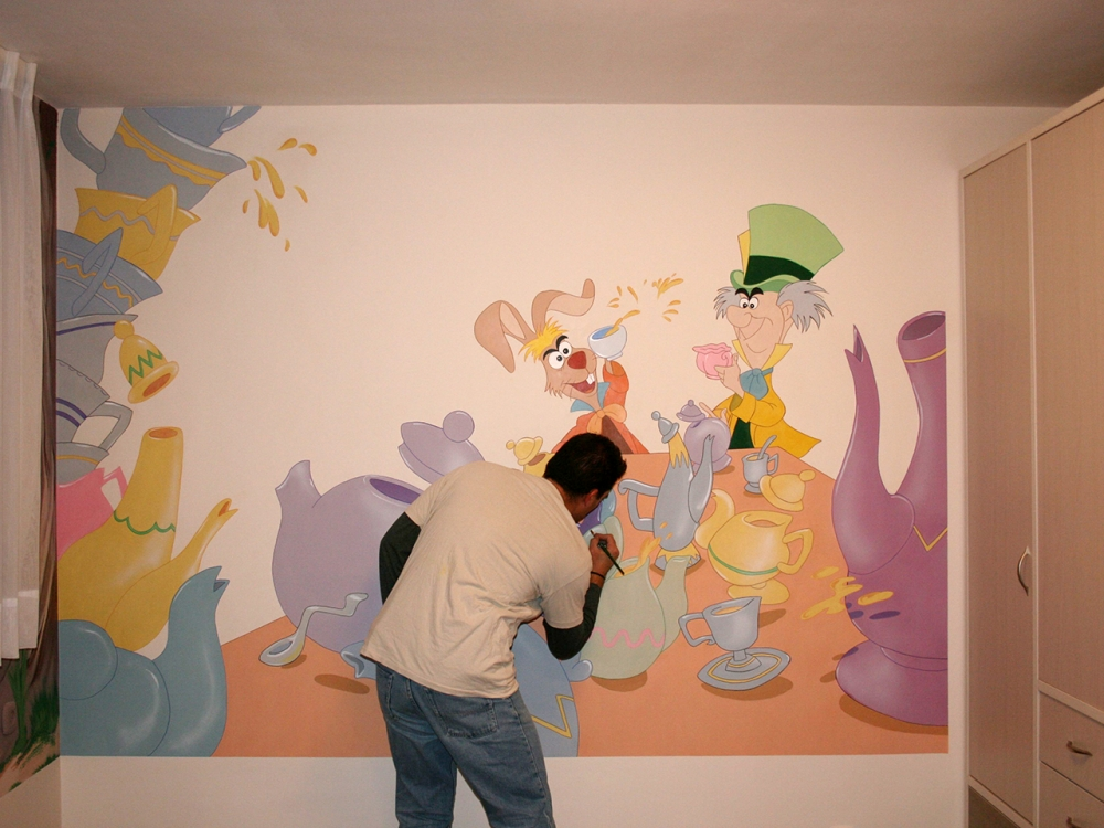 Sketches murals pregerfx israel makeup artist for Alice in wonderland mural